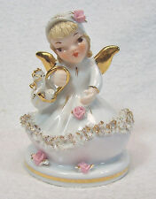 Lefton China Porcelain Angel Figurine Going To Market Spaghetti Trim Gold Accent