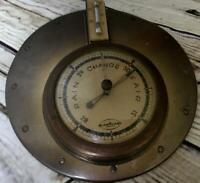 Vintage Metal  Barometer Temperature Instrument Brass Weather Station