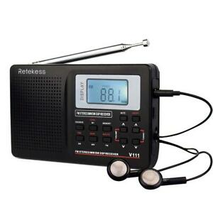 Retekess V111 Portable AM FM Shortwave Radio Alarm Clock Battery Operated AA