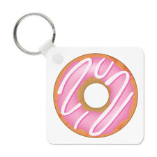 Pink Strawberry Glazed Doughnut Keyring Key Chain - Food Funny