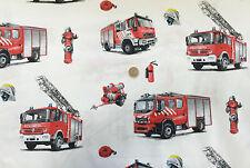 Baumwolle Stoff Feuerwehr Feuerlöscher Feuerwehrauto Helm Deko Stoffe weiß rot🚒