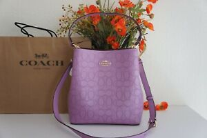 NWT Coach 1008 Town Bucket Bag Signature Perforated Leather Violet Orchid $450