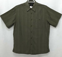 Mens Haggar Large Green Khaki Plaid Short Sleeve Button Front Shirt Polyester