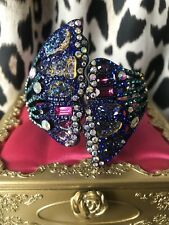 Betsey Johnson ButterflyDreams HUGE Jeweled Druzy Wing Hinged Bangle Bracelet