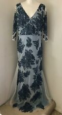 SOMERSET BY ALICE TEMPERLEY Blue Embroidered Lace Tulle Maxi Dress Size 14