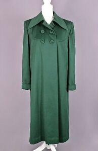 VTG Women's 40s Dark Green Wool Winter Swing Coat Sz S/M 1940s