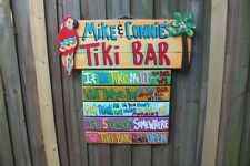 PERSONIZED TIKI WELCOME TROPICAL BAR HUT HAND MADE SIGN  PLAQUE