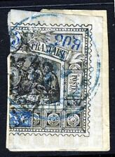 OBOCK 1894 Imperforate 25c. Cent BISECTED ON PIECE BLUE CANCEL SG 72