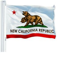New California Double Head Republic Flag Banner 3x5ft Heavy Duty 150D Polyester