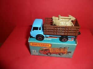 Matchbox 75 #71-Cattle Truck In Rare Light Blue With Purple Glass,MINMB,1982/84.