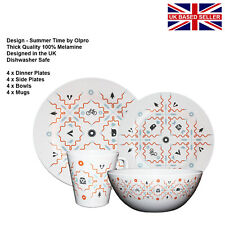Set of 4 Melamine Outdoor//Picnic//BBQ Epicurean Tropicana 21cm Side Plates