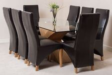 Valencia Large Oak 200cm Modern Glass Dining Table and 8 Brown Leather Chairs
