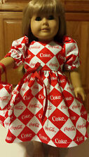 "18"" Doll Clothes  Dress & Tote Bag Coke-Cola  Coke Fabric"