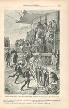 Autodafé sur la Place Publique Aquila Abruzzes Italie Jules Laurens GRAVURE 1881