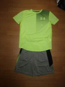 Under Armour Silver Grey, Black & Lime Green shorts & T-shirt set age 12-13 yrs