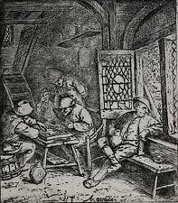 Adriaen Jansz Van Ostade Dutch 1610-1685 Etching Backgammon Players