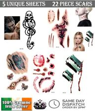 22 Temporary Scars Tattoos Halloween Zombie 3D Tattoo Blood Wound Scar 5 Sheets