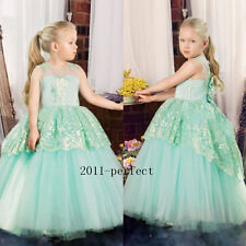 Mint Green Lace Flower Girl Dress Pageant Party Prom Bow Wedding Ball Gowns Kid+