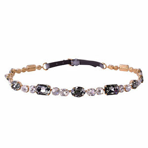 DOLCE & GABBANA RUNWAY Crystal Chain Lizard Belt for Dress Gray Gold 06499