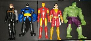 "Marvel DC Hasbro 12"" Avengers Action Figure Lot of 5 HULK, BATMAN IRONMAN +"