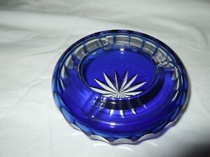 Cobalt Blue Cut To Clear glass Ashtray - 12cm