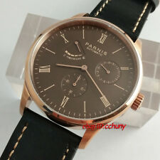 Parnis 42mm Rose Gold Case Seagull 1780 Power Reserve Automatic Wrist Watch 2573