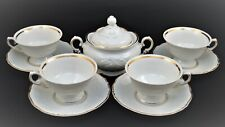 WAWEL POLAND PORCELAIN SET OF 4 TEA CUPS, SAUCERS AND SUGAR BOWL WHITE