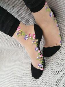 Ladies Ultra Thin  Women Floral Transparent  Crystal Lace Elastic Sheer Socks
