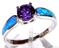 Amethyst & Blue Fire Opal Inlay Genuine 925 Sterling Silver Ring size 6,7,8,9