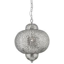 Projecteur 9221-1ss marocain brillant finition nickel à motifs lumière pendentif