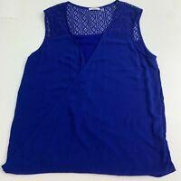 Dex Faux Wrap Cami Tank Top Women's Plus 1X Blue Knit Back V-Neck Sleeveless