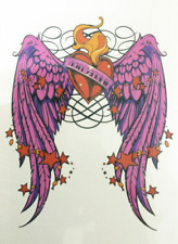 High Quality 21cm x 15cm Fake Temporary Tattoo Red Heart Angel Wings /-b328-/