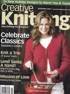 Creative Knitting Magazine Classic Sweaters Holiday Designs Scarves Bag Hats