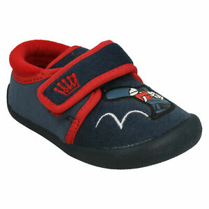 BOYS CLARKS SHILO DRUM FIRST HOOK & LOOP INFANT CASUAL WARM INDOOR SLIPPERS SIZE
