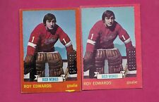 1973-74 TOPPS / OPC  # 82 RED WINGS ROY EDWARDS GOALIE CARD (INV# A412)