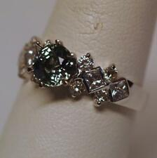 1.95tcw Natural Round Green Sapphire Ring 18K White Gold w/ Diamonds Size 7.25