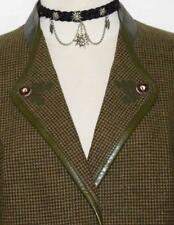 BROWN GREEN Plaid ~ BOILED WOOL GERMAN Hunting Riding Jumping Over Coat JACKET M
