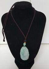 Chinese Export 48 cm 78ct Genuine Celadon Green Jade Pendant Necklace 16 grams
