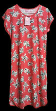 NWT ROSES FLOWERS CORAL GRAY NIGHTGOWN WOMEN'S LADIES FLORAL SLEEPWEAR SHIRT S