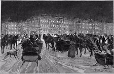RUSSIE- St-PETERSBOURG: TROÏKA sur PATINS, PLACE du PALAIS d'HIVER - Planche 19e