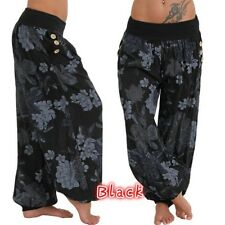 New Women's Summer Wide Leg Boho Floral Trousers Beach High Waist Dress Pants US