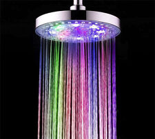 """Bathroom 8"""" 7 Colors LED Light Rain Automatic Changing Round Top Shower Head"""