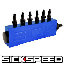 VACUUM INTAKE 6 PORT FUEL MANIFOLD GAS WASTEGATE BOOST PERFORMANCE BLUE P1