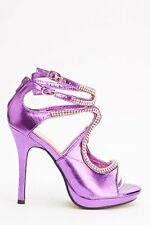NEW Purple Heels Shoes Size 7 Metallic Sandals 60s 70s Disco Diamante Stiletto