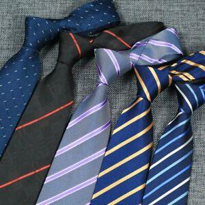 8CM Mens Ties Polyester Silk Stripes Solid Formal Dress Wedding Business Necktie