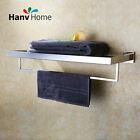 304 Stainless Steel Bathroom Double Towel Rail Rack Shelf Holder Bar hanger
