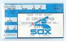 Carlton Fisk hit, Al Cowens home run ticket stub; Mariners at White Sox 7/1/1985