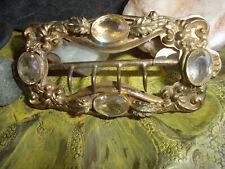 ANTIQUE BELT BUCKEL VICTORIAN LADIES ORNATE  BRASS CLEAR GLASS GEWLED