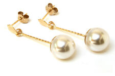 9ct Gold Pearl Drop earrings Gift Boxed Made in UK