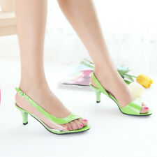 Plus Size Womens Fashion Slingbacks Transparent Sandals Peep Toe Mid Heel Shoes